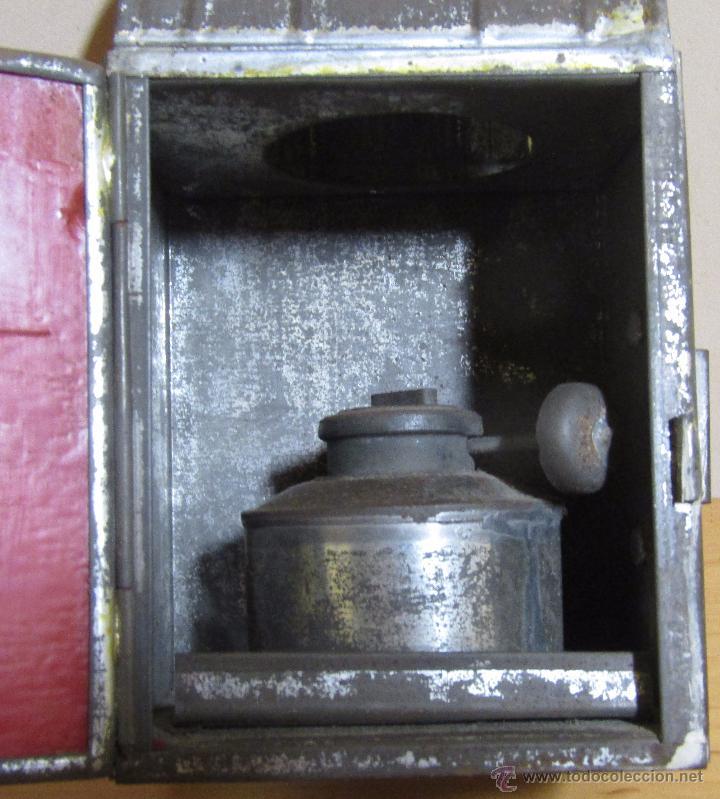 Antigüedades: FAROL DE ACEITE PARA CARRUAJE 14 X 7 X 8 CMS APROX. EN LATON - Foto 6 - 54637146