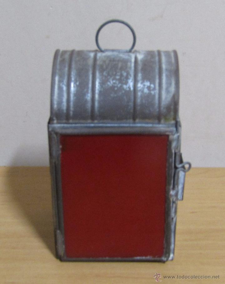 Antigüedades: FAROL DE ACEITE PARA CARRUAJE 14 X 7 X 8 CMS APROX. EN LATON - Foto 9 - 54637146
