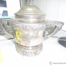 Antigüedades: URNA RECIPIENTE ALPACA PLATA PLATEADO PONE PUNZON NAVARRO CON DIBUJO ELEFANTE Y ALP.PLAT. Lote 201530156