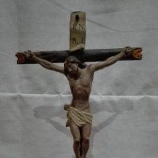 Antigüedades: IMAGEN CRISTO CRUCIFICADO TALLA DE MADERA SIGLO XIX. Lote 54642458