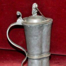 Antigüedades: CURIOSA JARRA EN ESTAÑO DEL SIGLO XIX CON MOTIVOS ORIENTALES. Lote 54648428