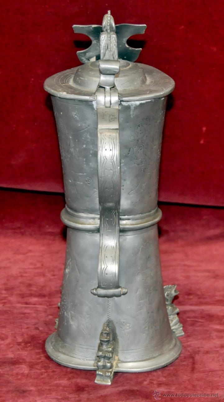 Antigüedades: CURIOSA JARRA EN ESTAÑO DEL SIGLO XIX CON MOTIVOS ORIENTALES - Foto 3 - 54648428
