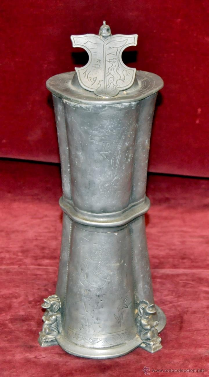Antigüedades: CURIOSA JARRA EN ESTAÑO DEL SIGLO XIX CON MOTIVOS ORIENTALES - Foto 4 - 54648428