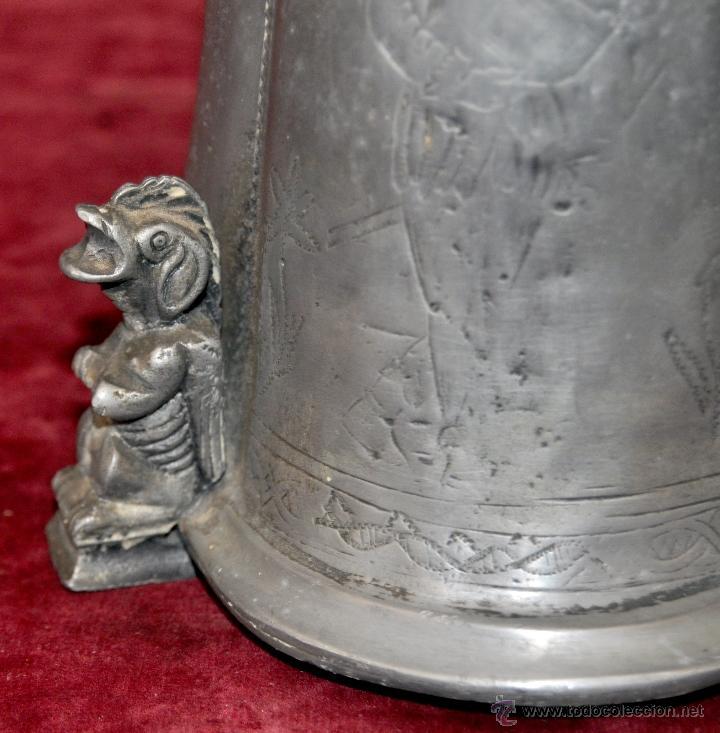Antigüedades: CURIOSA JARRA EN ESTAÑO DEL SIGLO XIX CON MOTIVOS ORIENTALES - Foto 5 - 54648428