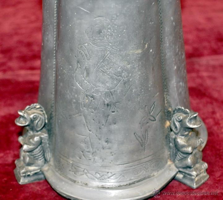Antigüedades: CURIOSA JARRA EN ESTAÑO DEL SIGLO XIX CON MOTIVOS ORIENTALES - Foto 7 - 54648428