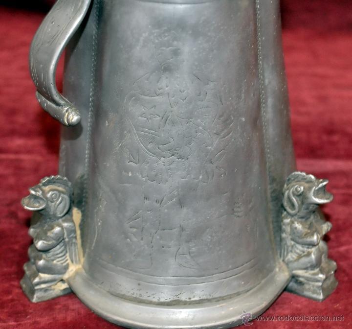 Antigüedades: CURIOSA JARRA EN ESTAÑO DEL SIGLO XIX CON MOTIVOS ORIENTALES - Foto 8 - 54648428