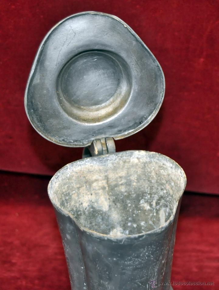 Antigüedades: CURIOSA JARRA EN ESTAÑO DEL SIGLO XIX CON MOTIVOS ORIENTALES - Foto 10 - 54648428