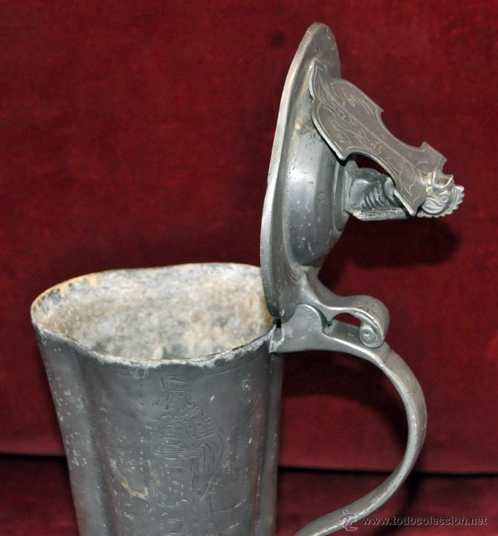 Antigüedades: CURIOSA JARRA EN ESTAÑO DEL SIGLO XIX CON MOTIVOS ORIENTALES - Foto 11 - 54648428