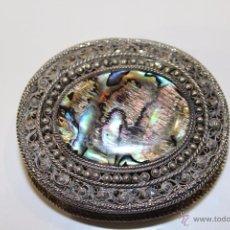 Antigüedades: CAJA EN PLATA LEY 925 FILIGRANA E NÁCAR MARCADO. Lote 54654194