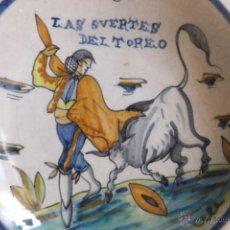 Antigüedades: PLATO CERAMICA TALAVERA LA MENORA SUERTES TOREO ( TOROS ). Lote 54662373