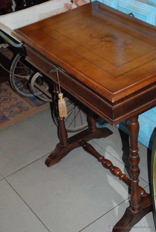 Antigüedades: MUY BONITO COSTURERO DE MARQUETERÍA - Foto 4 - 54678442