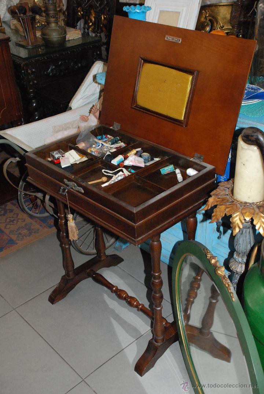 Antigüedades: MUY BONITO COSTURERO DE MARQUETERÍA - Foto 6 - 54678442