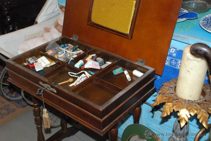 Antigüedades: MUY BONITO COSTURERO DE MARQUETERÍA - Foto 7 - 54678442