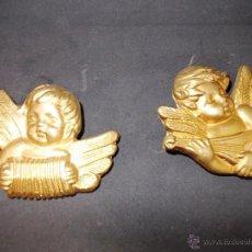 Antigüedades: LOTE DE DOS ANGELITOS EN ESCAYOLA CON INSTRUMENTOS. Lote 54714462