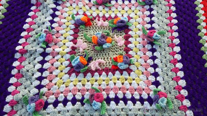 Antigüedades: precioso tapete o mantel para mesa de lana , hecho a mano - Foto 2 - 54727985