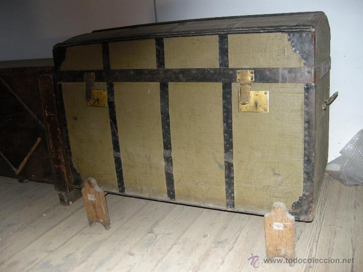 Antigüedades: Baúl de madera reforzado con chapa - Foto 3 - 54730522