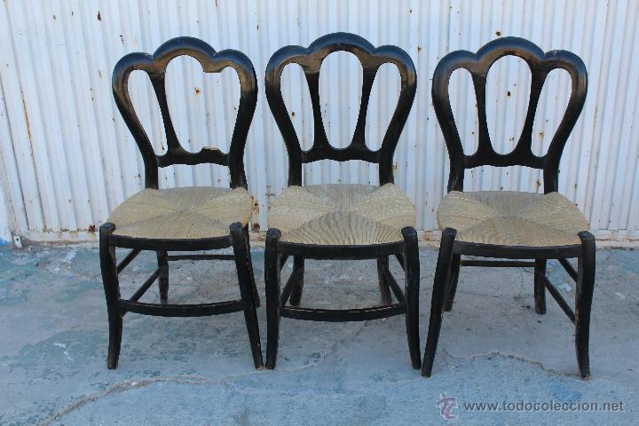 3 sillas de madera con asiento de enea para res comprar for Antiguedades para restaurar