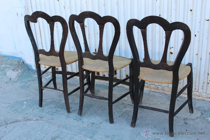 3 Sillas De Madera Con Asiento De Enea Para Res Kaufen Antike