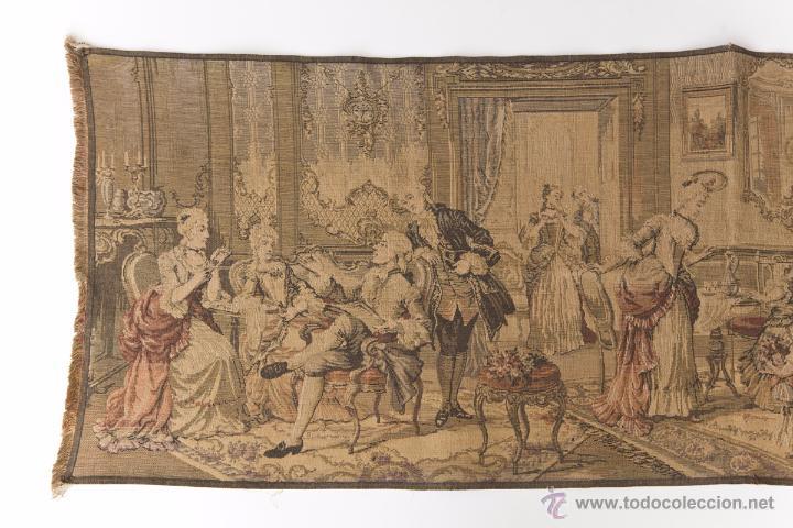 Antigüedades: Precioso Antiguo Tapiz Veneciano de finales siglo XIX. Escena galante. - Foto 2 - 54740783