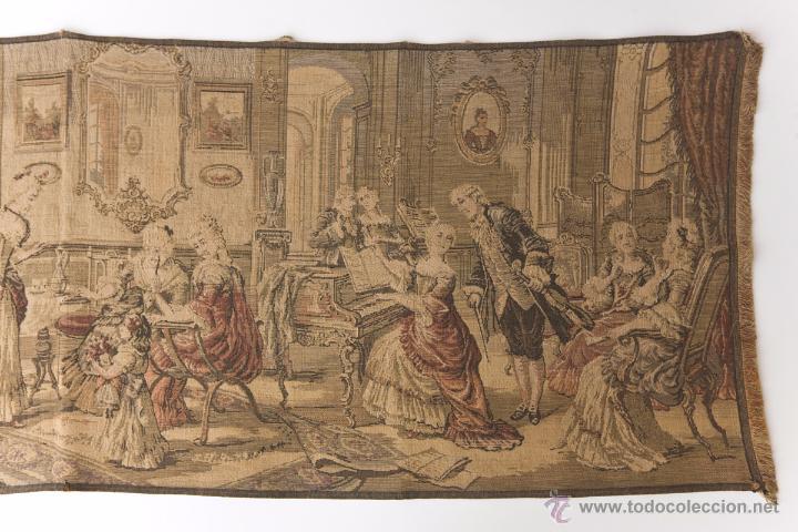 Antigüedades: Precioso Antiguo Tapiz Veneciano de finales siglo XIX. Escena galante. - Foto 3 - 54740783