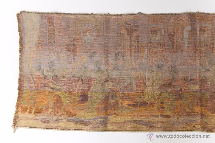 Antigüedades: Precioso Antiguo Tapiz Veneciano de finales siglo XIX. Escena galante. - Foto 7 - 54740783