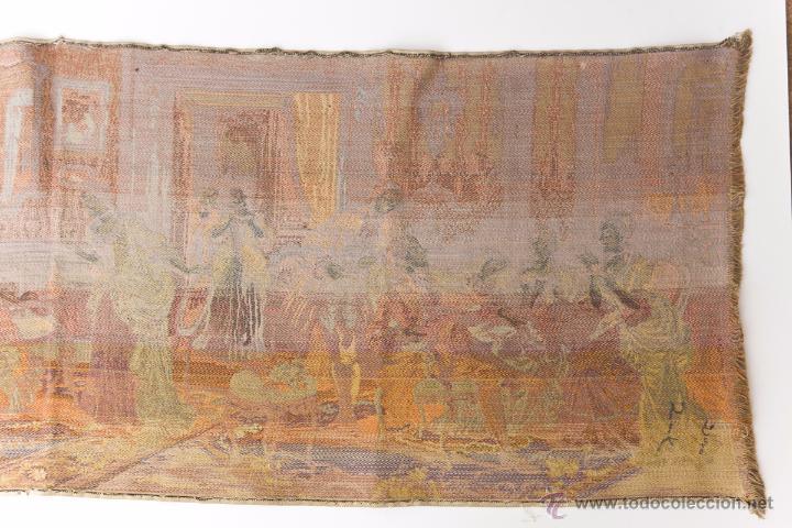 Antigüedades: Precioso Antiguo Tapiz Veneciano de finales siglo XIX. Escena galante. - Foto 8 - 54740783