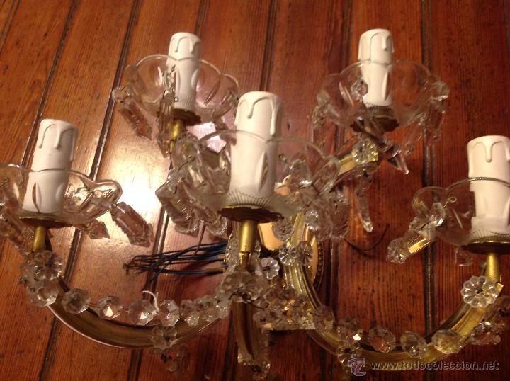 Antigüedades: aplique de laton y cristal de 5 luces - Foto 2 - 54746805