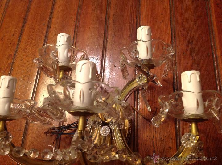 Antigüedades: aplique de laton y cristal de 5 luces - Foto 4 - 54746805
