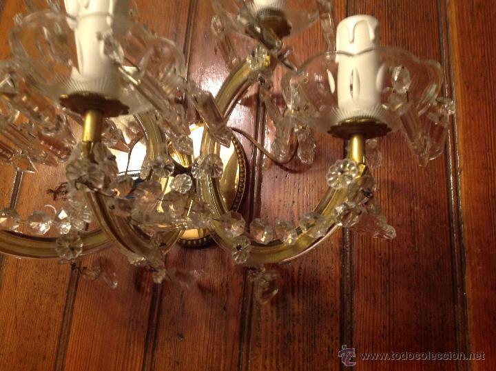 Antigüedades: aplique de laton y cristal de 5 luces - Foto 5 - 54746805