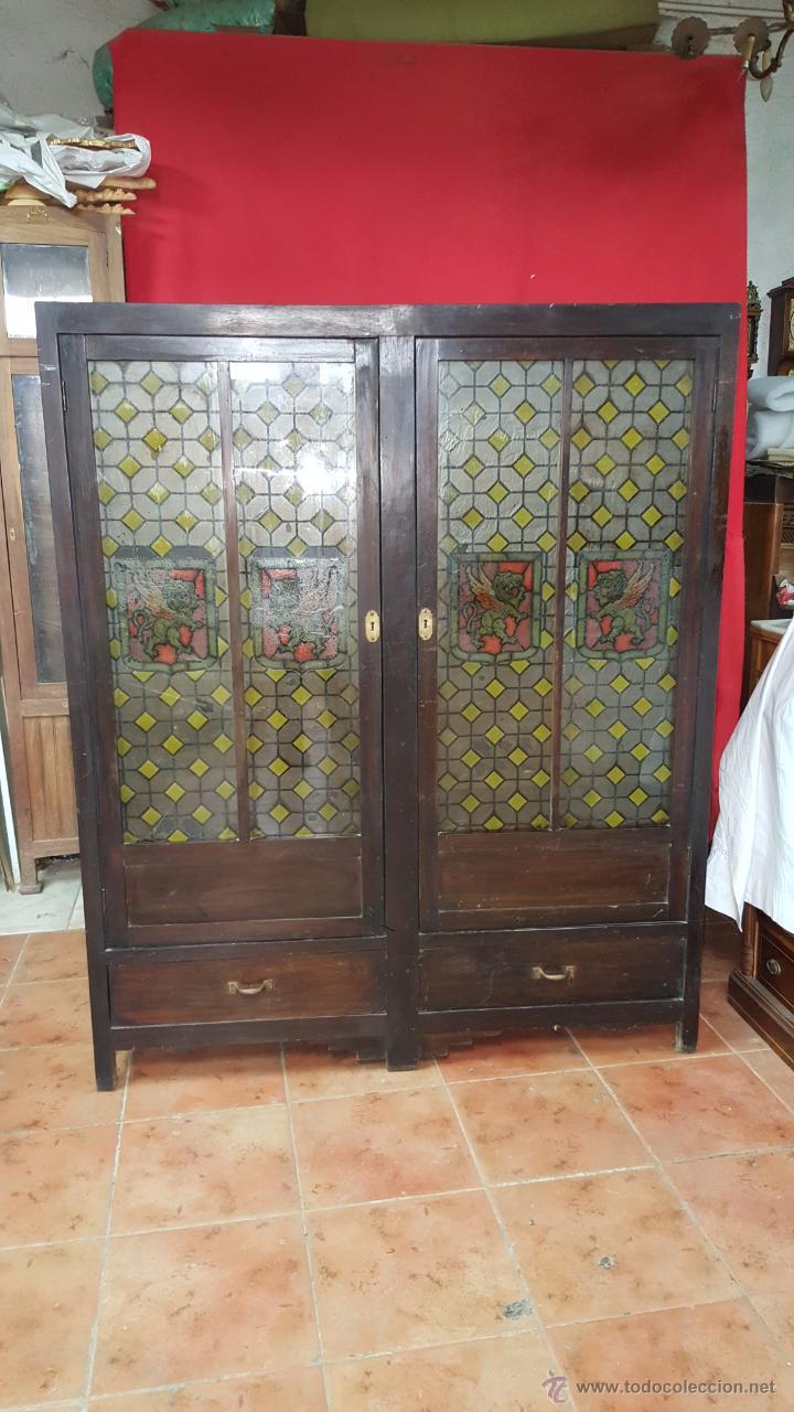 Vitrina espa ola en madera para restaurar comprar - Vendo muebles antiguos para restaurar ...