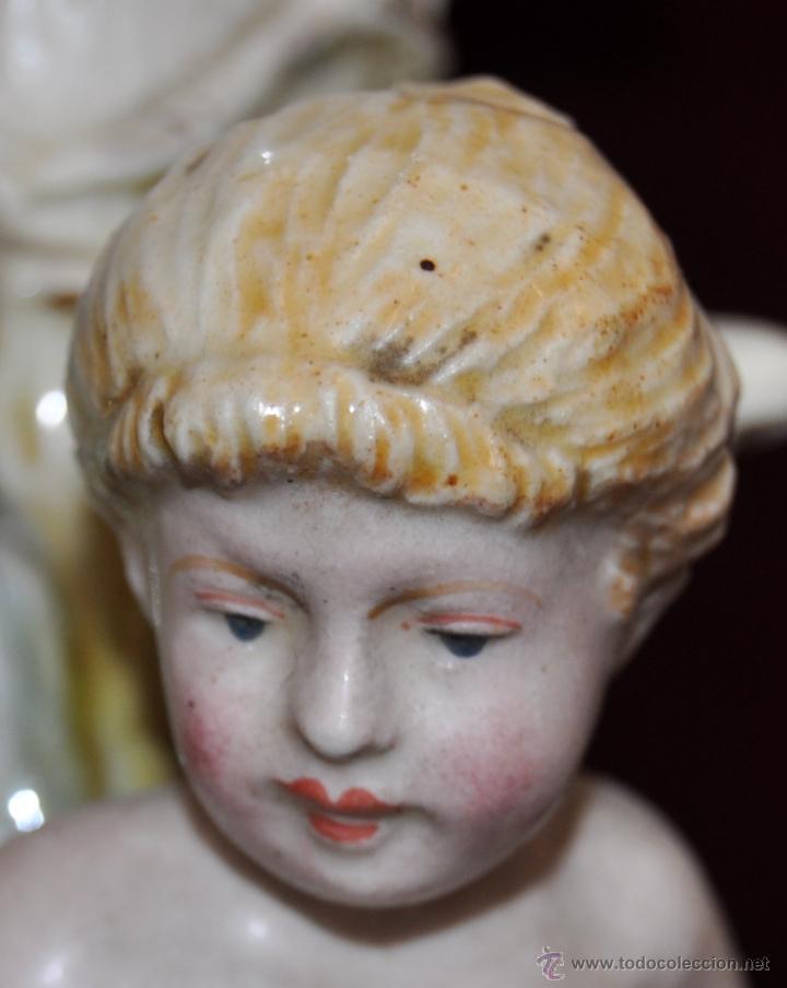 Antigüedades: MAGISTRAL CANDELERO EN PORCELANA ALEMANA DE FINALES DEL SIGLO XIX - Foto 6 - 54753148