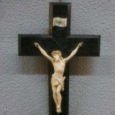 Antigüedades: ANTIGUO CRISTO - MARFIL Y ÉBANO - CERTIFICADO DE GARANTÍA Nº 1658 -TALLA EUROPEA -FINALES S. XVIII . Lote 54753490