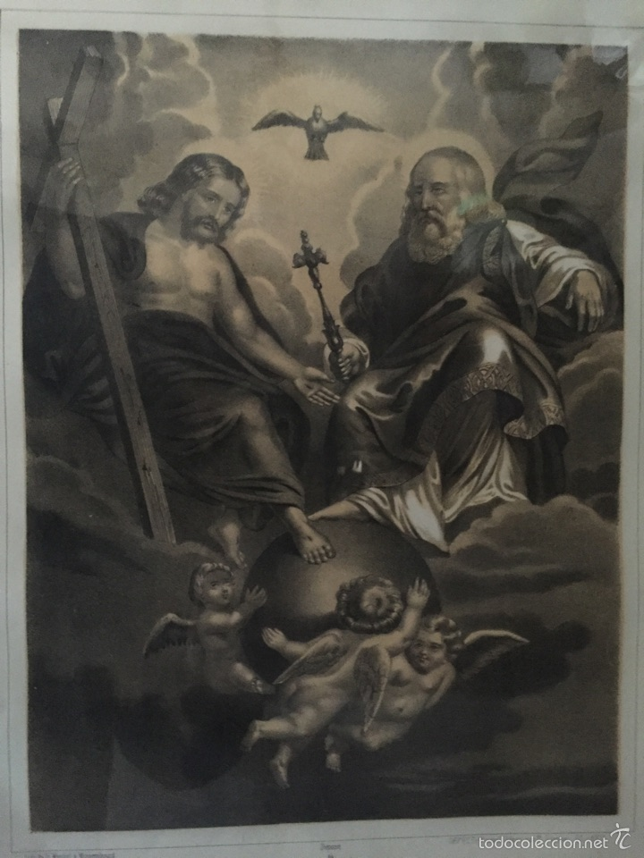 Antigüedades: GRABADO DE LA SANTÍSIMA TRINIDAD ANTIGUO ENMARCADO. - Foto 2 - 54754748