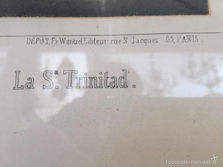 Antigüedades: GRABADO DE LA SANTÍSIMA TRINIDAD ANTIGUO ENMARCADO. - Foto 3 - 54754748