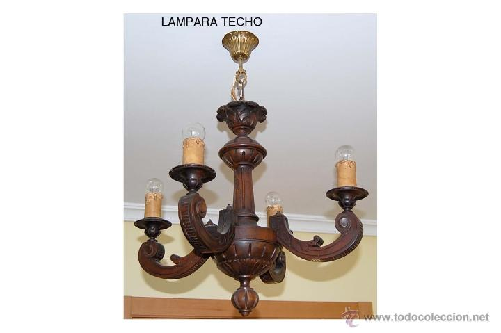 lampara de techo en madera tallada a mano Comprar Lmparas