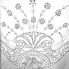 Antigüedades: FUNDA PARA EDREDÓN. BATISTA. RICHELIEU. BORDADOS MANUALES. ESPAÑA. XIX.. Lote 53765654