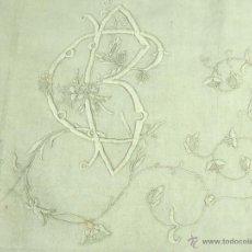 Antigüedades: SÁBANA DE MATRIMONIO EN LINO BORDADA A MANO. ESPAÑA. CIRCA 1850.. Lote 53768772