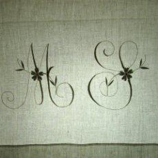Antigüedades: JUEGO DE CAMA DE MATRIMONIO. LINO. BORDADOS A MANO. ENCAJE BOLILLO. ESPAÑA.XIX.. Lote 53888046