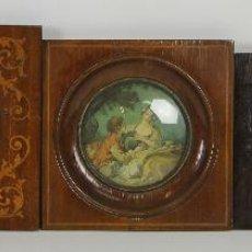 Antigüedades: SET DE 5 MARCOS Y RETRATOS. MARCOS EN MADERA Y MARQUETERIA. SIGLO XIX-XX.. Lote 54220445