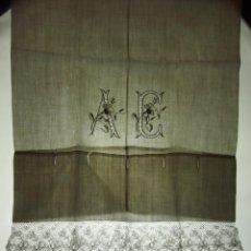 Antigüedades: PAREJA DE FUNDAS DE ALMOHADA. LINO BORDADO A MANO. ENCAJE BOLILLOS. ESPAÑA. XIX.. Lote 109501826
