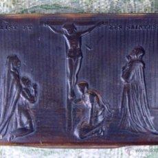 Antigüedades: CAJITA EN CAREY IMPRESO. TEMA RELIGIOSO.JESÚS Y LAS SANTAS MUJERES.FRANCIA. XIX.. Lote 53077839