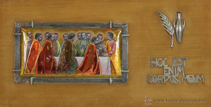O5-015. ESCENA BIBLICA. ESMALTE SOBRE METAL. MARCO Y ORNAMENTOS EN PLATA. SIGLO XX. (Antigüedades - Religiosas - Orfebrería Antigua)