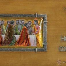 Antigüedades: O5-015. ESCENA BIBLICA. ESMALTE SOBRE METAL. MARCO Y ORNAMENTOS EN PLATA. SIGLO XX.. Lote 52817126