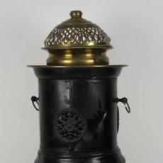 Antigüedades: ESTUFA CALENTADOR EN LATON Y HIERRO FORJADO. SIGLO XIX.. Lote 51398733