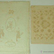 Antigüedades: DO-005 - PAREJA DE PLANTILLAS PARA BORDADOS. PAPEL PERFORADO. ESPAÑA. 1891. Lote 50351504