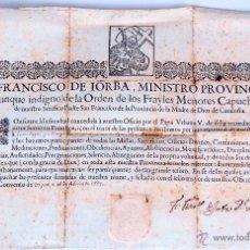 Antigüedades: DO-012 - DOCUMENTO DE INCORPORACION ESPIRITUAL A LA ORDEN DE FRAILES MENORES. VIC.1699.. Lote 50422473
