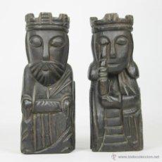 Antigüedades: PAREJA DE REYES APOYALIBROS EN MADERA TALLADA. SIGLO XX.. Lote 51056884