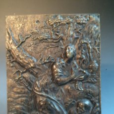 Antigüedades: PLACA DEVOCIÓNAL DE BRONCE SIGLO XVII. Lote 54799227