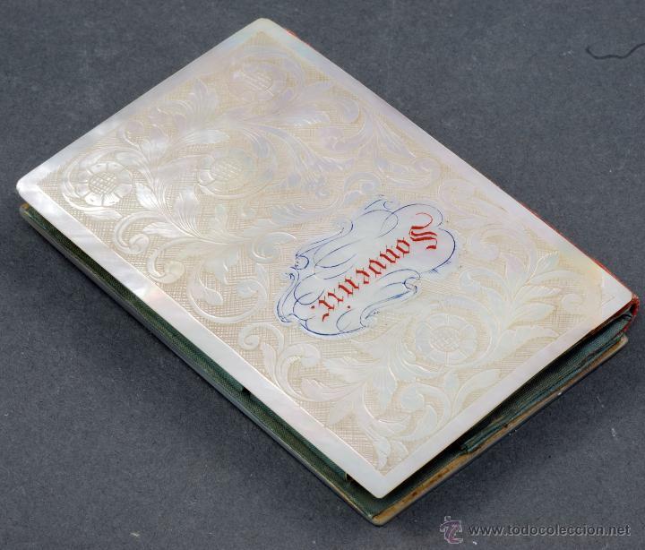 Antigüedades: Carnet baile souvenir tapas nácar interior forrado seda S XIX - Foto 2 - 54804646