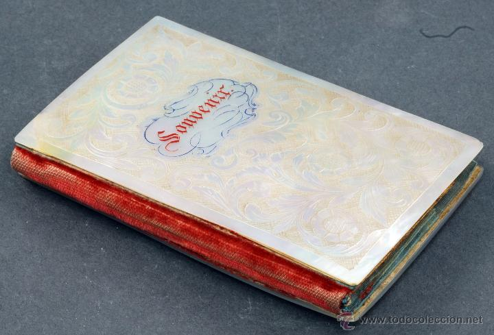 Antigüedades: Carnet baile souvenir tapas nácar interior forrado seda S XIX - Foto 3 - 54804646